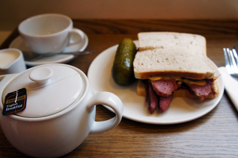 That's better, a salt beef sandwich, pickle on the side. Photo by Simon Wilder