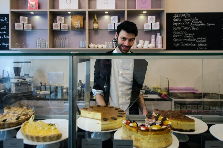 The charming and hard-working assistant at Princess Cheesecake. Photo by Simon Wilder