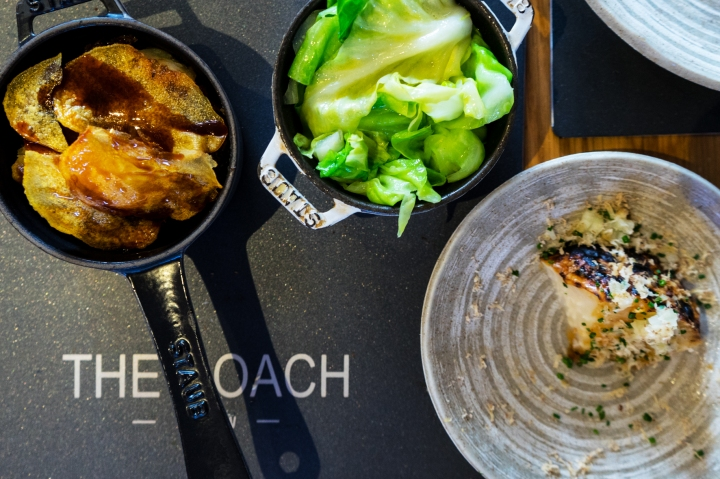 Somme boulangère, buttered hispi cabbage, apple glazed celeriac with grated chestnut. Photo by Simon Wilder
