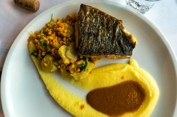Croaker with yellow lentils and mash. Photo by Simon Wilder